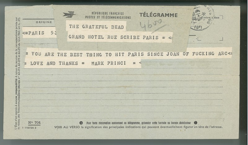 Telegram from Marc Prince to the Grateful Dead, Paris 1972