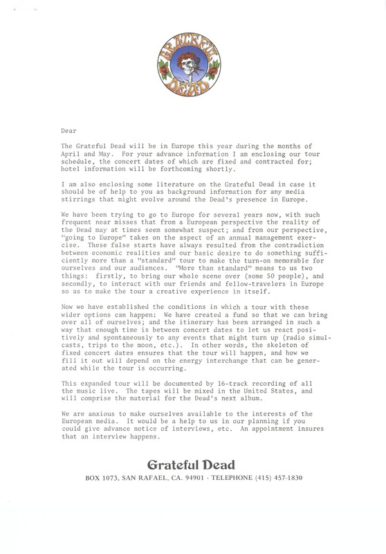 Grateful Dead, Europe '72: unaddressed form letter for European media outlets, announcing the tour