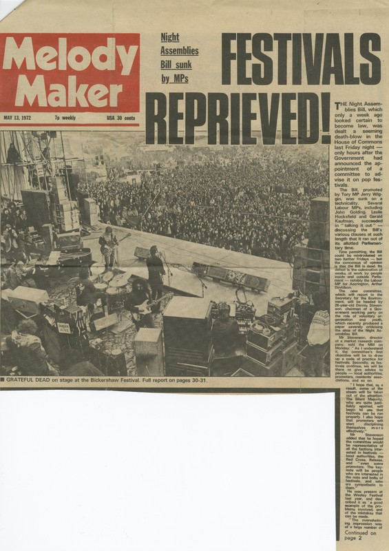 "Melody Maker (May 13, 1972): ""Festivals Reprieved"" article with black-and-white photograph of Grateful Dead at the Bickershaw Festival"