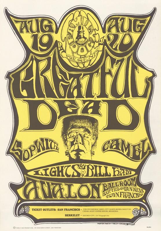 Greatful [sic] Dead, Sopwith Camel, lights by Bill Ham - Family Dog Presents - August 19-20, 1966 - Avalon Ballroom