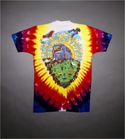 "T-shirt: ""Grateful Dead / Summer Tour / The Bus Came By"" - bus, bears, biplane. Back: ""Summer Tour 1994 / And I Got On"" - bear, bus, flowers"