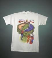 "T-shirt: ""G.D. Tour"" - skeleton golfer, bear caddy. Back: ""Grateful Dead"" - Capitol Building, skeleton golfer, bear caddy"