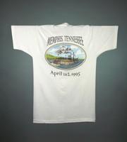 "T-shirt: ""Memphis, TN / April 1 & 2 / CREW"" - stealie, riverboat. Back: ""Memphis, Tennessee / April 1 & 2, 1995"" - riverboat"