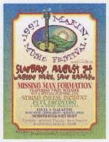 1997 Marin Music Festival / Sunday, August 24, Lagoon Park, San Rafael / Magic Steve and Karin Conn Present / Missing Man Formation featuring Vince Welnick, with special surprise jam, String Cheese Incident, Pete Escovedo and his 10-piece orchestra, Vinyl, Galactic, Blew Willie, Jimmy Dillon, Nefertiti Jones, MC/Ringmaster: Wavy Gravy