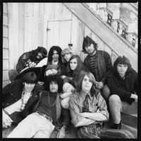 "Grateful Dead: (back) Ron ""Pigpen"" McKernan, Jerry Garcia, Phil Lesh, Laird Grant, (middle) Tangerine, Jerry Garcia, Rosie McGee, Bill Kreutzmann, (front) Rock Scully, Danny Rifkin, Bob Weir"