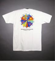 "T-shirt: ""Bill Graham Presents / STAFF"" - stealie, crane. Back: ""Grateful Dead / Shoreline Amphitheatre"" - image wheel"