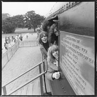 "Grateful Dead in Golden Gate Park: Bob Weir, Bill Kreutzmann (obscured), Jerry Garcia, Phil Lesh, Ron ""Pigpen"" McKernan"