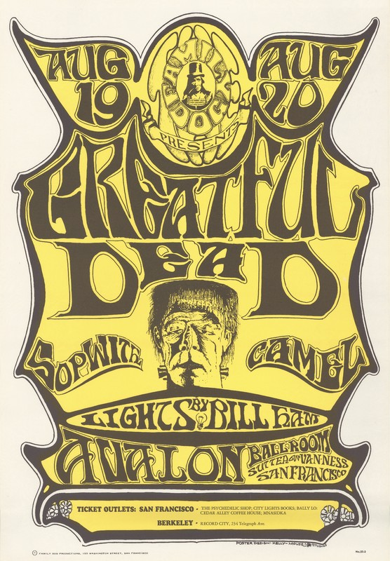 Greatful [sic] Dead, Sopwith Camel, lights by Bill Ham - Family Dog Presents - August 19-20, 1966 - Avalon Ballroom