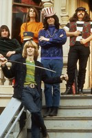 "Grateful Dead in front of 710 Ashbury Street: Bill Kreutzmann, Phil Lesh, Bob Weir, Jerry Garcia, Ron ""Pigpen"" McKernan"