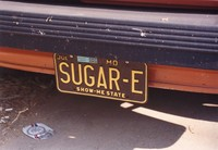 "Deadhead vehicle with ""SUGAR-E"" Missouri license plate, ca. 1988"