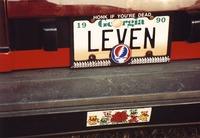 "Deadhead vehicle with ""LEVEN"" Georgia license plate, ca. 1990"