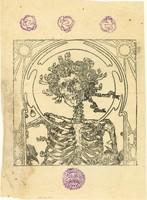 Poster: [Skull & Roses with Mr. Natural stamps at top, sun/lion stamp at bottom] - linoleum cut on rice paper