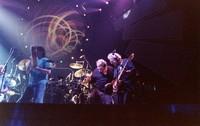 """Ken Nordine, with Bill Kreutzmann, Mickey Hart, and Jerry Garcia, during """"Drumz"""""""