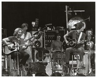Grateful Dead during an acoustic set: Jerry Garcia, Phil Lesh, Mickey Hart, Bob Weir and Bill Kreutzmann