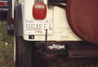 "Deadhead vehicle with ""SUGAR E 4"" Illinois license plate, ca. 1991"
