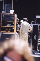 Mickey Hart, Bill Graham, and an unidentified crew member