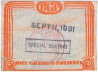 BGP Bill Graham Presents - [Grateful Dead] - Sept. 11, 1981 - Special Seating [backstage pass]
