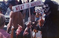 "Deadhead ""Meat Is Murder"" anti-violence against animals display outside an unidentified concert venue, ca. 1980s"