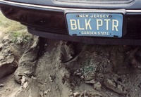 "Deadhead vehicle with ""BLK PTR"" New Jersey license plate, ca. 1990"