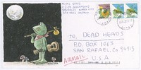 Decorated envelope with frog, guitar, moon stealie