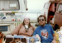 Deadheads with Grateful Dead-themed face painting, ca. 1980s