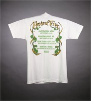 "T-shirt: ""Grateful Dead / Harvest Tour"" - skeleton, pumpkins, moon. Back: ""Harvest Tour / [cities and dates]"""