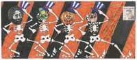 Decorated envelope with dancing skeletons, Jerry Garcia