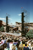 Grateful Dead at Red Rocks Amphitheatre: distant view of the stage