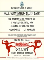 Paul Butterfield Blues Band with Bishop, Bloomfield & Naftalin, Big Brother and the Holding Company with Nick Gravenites, It Was a Beautiful Day, Country Joe and the Fish, Canned Heat, Lee Michaels / Poets: Allen Ginsberg, Michael McClure, Lenore Kandel, Diane Di Prima / Comics: Wavy Gravy, former Committee members, Congress of Wonders / Dance: Dance Spectrum