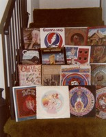 "Grateful Dead, Old and In the Way, Bob Weir's ""Ace"", and other albums arranged on a staircase"