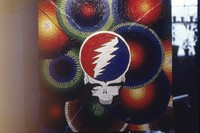 "Deadhead art, ca. 1974: ""Steal Your Face"" or ""Stealie"" skull painting"