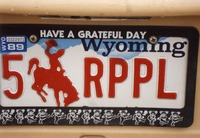"Deadhead vehicle with ""5 RPPL"" Wyoming license plate, ca. 1989"