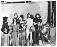 Grateful Dead publicity shoot at Club Front: Mickey Hart, Donna Godchaux, Phil Lesh, Keith Godchaux, Bob Weir, Jerry Garcia, Bill Kreutzmann