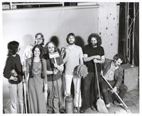 Grateful Dead publicity shoot at Club Front: Mickey Hart, Donna Godchaux, Phil Lesh, Keith Godchaux, Bob Weir, Jerry Garcia, Bill Kreutzmann
