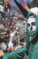 Memorial for Jerry Garcia: mourner in skeletal costume by the altar collection