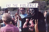 "Deadhead ""End the Violence"" against animals display outside an unidentified concert venue, ca. 1980s"