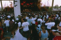 Grateful Dead, ca. 1995: Deadheads and distant view of the stage