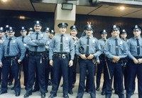 New York City police officers outside of Madison Square Garden, presumably at a Grateful Dead concert, ca. 1980s