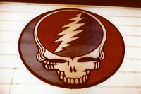 "Grateful Dead ""stealie"" logo by Bob Thomas on the marquee of the Warfield Theater, ca. 1980"