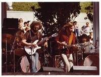 Grateful Dead: Jerry Garcia and Bob Weir, with Bill Kreutzmann and Mickey Hart in the background
