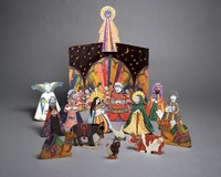 Grateful Dead nativity scene with band members as magi, shepherds, angel