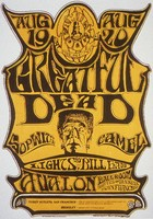 Greatful [sic] Dead, Sopwith Camel - Family Dog Presents - Avalon Ballroom - August 19-20, [1966] - Lights by Bill Ham: slide reproduction (by John Werner) of the poster by Stanley Mouse