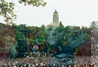 Grateful Dead at the Frost Amphitheatre: distant view, with Hoover Tower in the background: double exposure with a skeleton