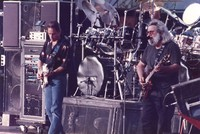 Grateful Dead: Bob Weir and Jerry Garcia, with Bill Kreutzmann, obscured