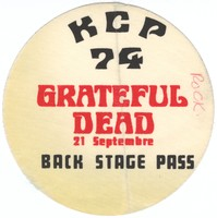 Grateful Dead - KCP 74 - 21 Septembre - Back Stage Pass (backstage pass)