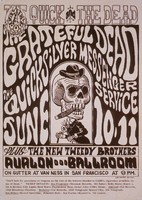 Family Dog Presents - The Quick and the Dead - Grateful Dead, The Quicksilver Messenger Service, The New Tweedy Brothers - June 10-11 [1966]: slide reproduction (by John Werner) of the poster by Wes Wilson