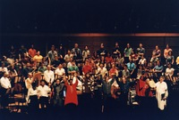 Michael Tilson Thomas at the conclusion of a concert with the San Francisco Symphony Youth Orchestra along with Mickey Hart, Bob Weir, Phil Lesh, Vince Welnick, and vocal soloists as part of An American Festival