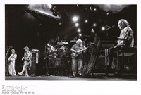 Grateful Dead: Phil Lesh, Bob Weir, Jerry Garcia, Vince Welnick, with Bill Kreutzmann and Mickey Hart obscured