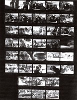 Grateful Dead, Butterfield Blues Band and Jefferson Airplane: black-and-white photocopy of a contact sheet with 36 images