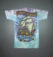 """T-shirt: """"Grateful Dead"""" - pirate ship, skeletons. Back: """"Ship of Fools"""" - ship and skeletons"""